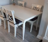 White Ikea table and 4 chairs - almost brand new