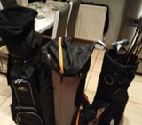 3 golf bags  and 10 clubs 1 putter for sale