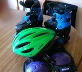 Roller blades, helmet and knee pads