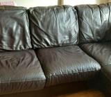 Chocolate Brown leather corner sofa and white unit to upcycled.