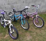 Three kid's bikes