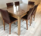 Solid wood extendable table inc. optional glass top & 6 real leather chairs