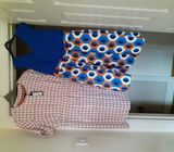 DRESS royal blue with flare multi colour skirt plus M&S pink check dress never worn