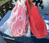 Gabor Comfort Red suede low wedge.
