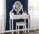 Nishano dressing table 5 drawer stool white mirror