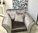 Grey crushed velvet 3seater couch and single chair