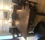Solid oak dining table & chairs