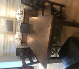Custom, handmade solid oak dining table & chairs