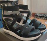 Italian black wedge heels