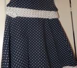 Navy & White Polka dot dress- 12-18 Months