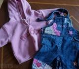 Next baby girl top and dungarees 0-3 months