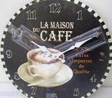 Black La Maison Du Cafe Kitchen Old Vintage Look Wall Picture Coffee Deco Clock