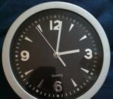 Wall Clock Silver & Black Bedroom/Kitchen/Hall