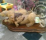 Lion & Lioness Coffee Table Stand Glass Missing