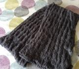 Grey chunky knit cowl scarf