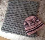 Grey Snood and Pink hat