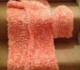 Hand knitted scarf and beanie hat