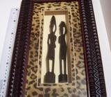 African hand made wood carving in rich frame