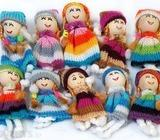 Pack of 10 Variety Knitted Doll Miniature Applique Yarn Button Bead Craft